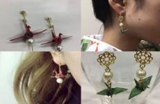 【女子目線工具】<手作りピアス> 着物の柄に合わせた折り鶴のピアス作り